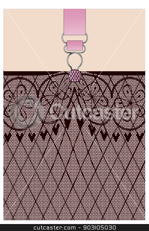 Garter stock vector clipart, A lace stocking background in a fishnet style with hearts and flowers and a suspender button by Kotto