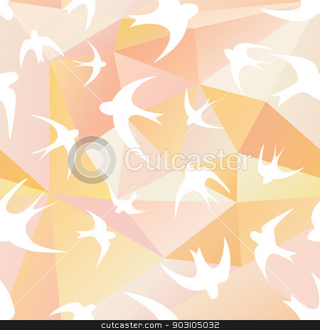 swallow and triangle stock vector clipart, Seamless texture with the swallow, and triangles. White silhouettes of birds. Mosaic effect by LittleCuckoo