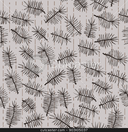 fir branches seamless pattern stock vector clipart, fir branches seamless pattern on striped background. Use as pattern fill, backdrop, surface texture by LittleCuckoo