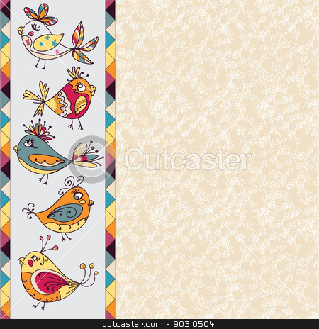 greeting card with flowers and bird stock vector clipart, Greeting card with flowers and bird. invitation with floral elements. by LittleCuckoo