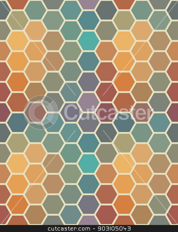 Colored seamless hexagon texture stock vector clipart, Colored seamless hexagon texture. Geometric pattern. Can be used for wallpaper, backdrop, surface textures. by LittleCuckoo