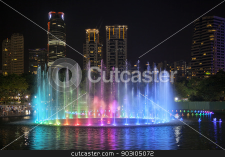 Lake Symphony at KLCC Park stock photo, Lake Symphony Musical Water Fountain Light Show at Night in KLCC Park Kuala Lumpur Malaysia by Jit Lim