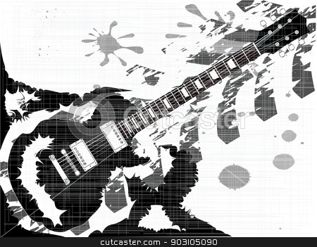 Splatter Guitar stock vector clipart, A rock guitar integrated into a splatter type grunge background by Kotto