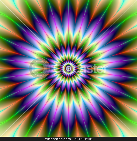 Daisy Petals stock photo, Digital abstract fractal image with a flower design in green and purple. by Colin Forrest