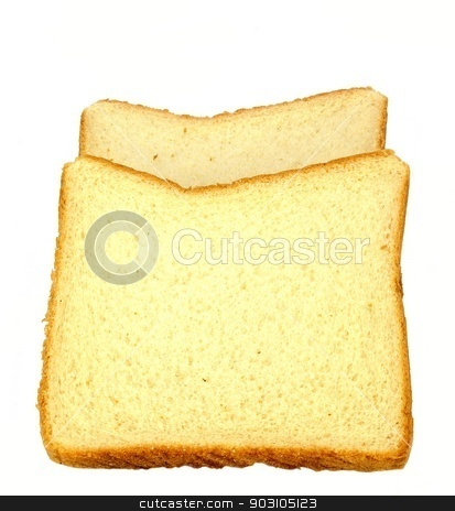 White bread stock photo, Two slices of white bread on a white background. by crspix
