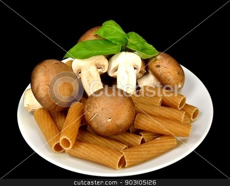 Baby Bella mushrooms, pasta and basil stock photo, Baby Bella mushrooms, pasta and basil on a black background. by crspix