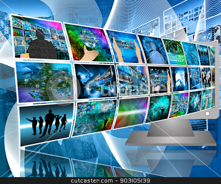 data transfer stock photo, Abstract composition which shows a variety of different images on the theme of computers and high technology. by sssrrussia