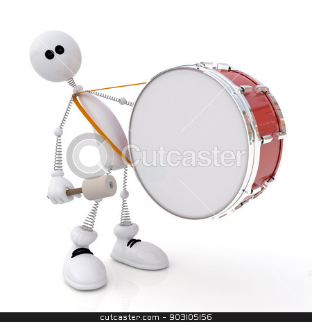 The white little man costs with a drum in hands. stock photo, The 3D white person goes with a big drum. Also beats on it. by karelin721