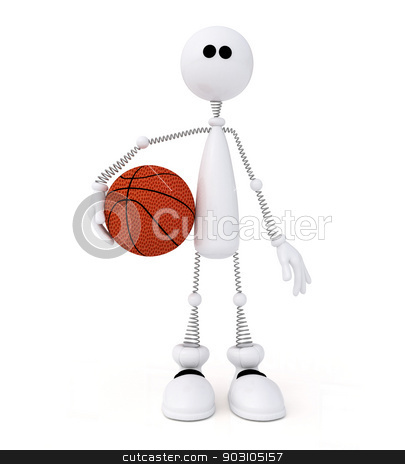 3d little man basketball player. stock photo, The white person on springs with a basketball ball. by karelin721