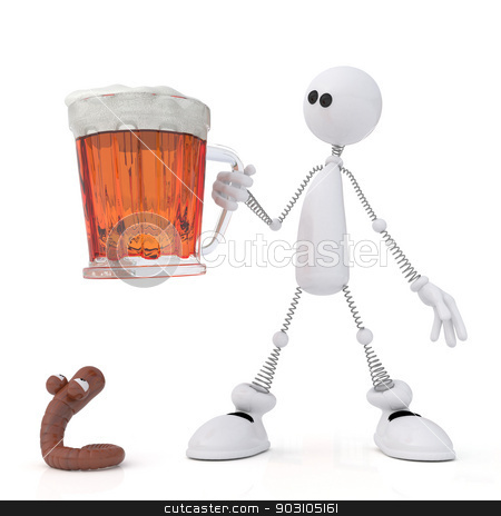 The 3D little man with beer. stock photo, The white person holds in a hand a mug with beer. by karelin721