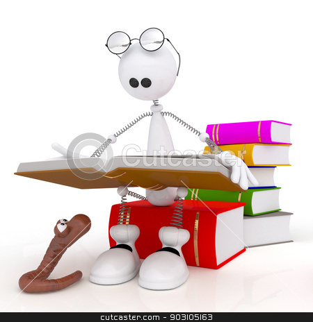 The 3D little man reads the book. stock photo, The white person sits in library at books with a worm. by karelin721