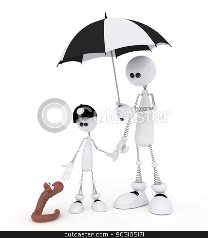 The 3D little man with the child on a rain. stock photo, The white person on springs walks with the son with an umbrella. by karelin721