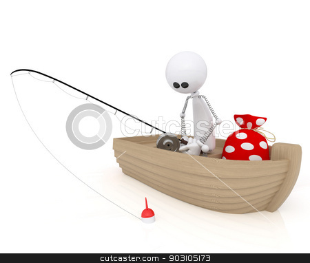 3d white little man fisherman. stock photo, The character in the boat on fishing with a rod. by karelin721