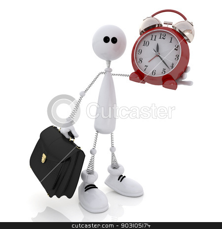 The 3D little man with hours and a portfolio. stock photo, The white person the businessman hurries for work. by karelin721