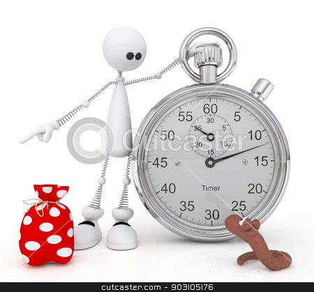 The 3D little man with a stop watch. stock photo, The white person forces a worm to go in for sports. by karelin721