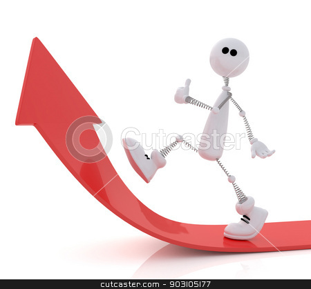The 3D little man goes up. stock photo, The small white person rises by success top. by karelin721