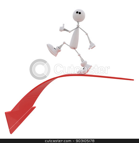 The 3D small person goes down. stock photo, The small white person rises by success top. by karelin721