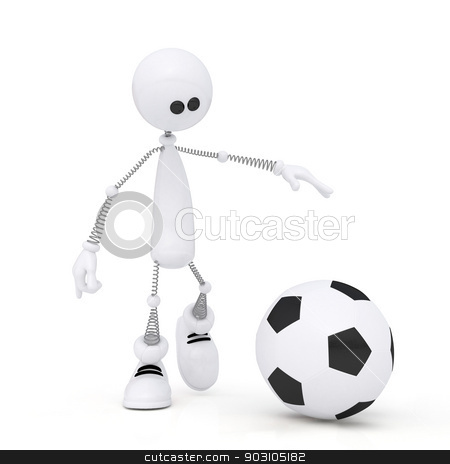 3d person football player. stock photo, The little, white man on springs plays soccer. by karelin721