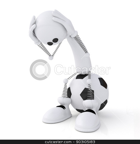3d person football goalkeeper. stock photo, The little, white man on springs plays soccer. by karelin721