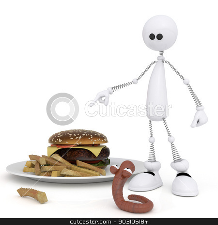 The 3D little man with a hamburger. stock photo, The white person on springs teaches a worm to a diet. by karelin721