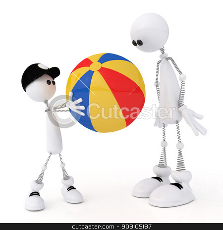 The 3D little man with a ball. stock photo, The white person on springs plays a ball. by karelin721