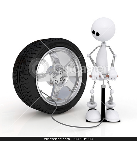The 3D little man pumps up a wheel. stock photo, The white person on springs is engaged in car repair. by karelin721