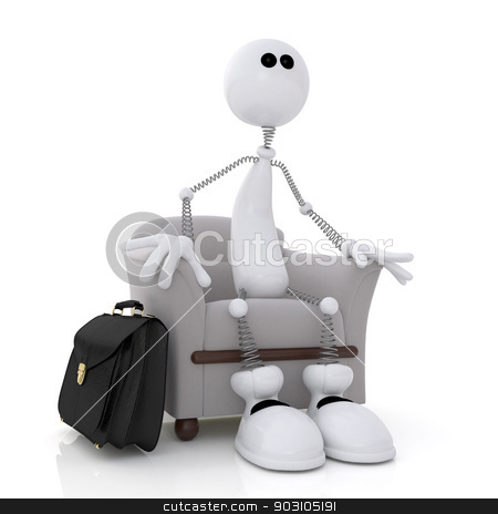 The little white man sits in a chair. stock photo, 3d illustration of the white person sitting in a chair with a portfolio. by karelin721