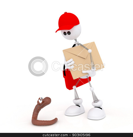 The 3D white mail carrier on springs. stock photo, The mail carrier delivers letters and parcels. by karelin721