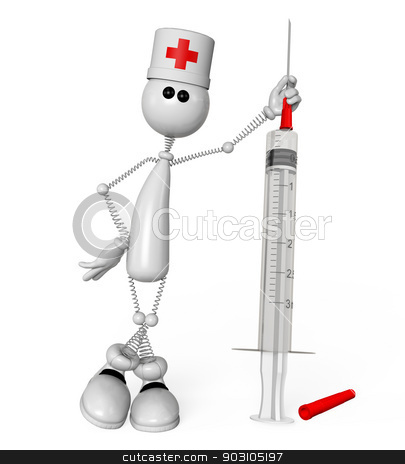 The 3D white person with a medical syringe. stock photo, The little man on springs costs with a syringe. by karelin721