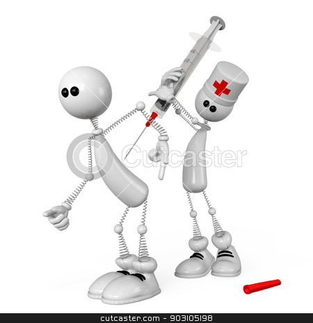 The 3D white person with a medical syringe. stock photo, The little man on springs with a syringe gives an injection. by karelin721