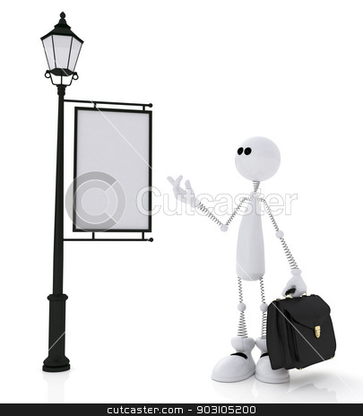 The 3D little man with a portfolio. stock photo, The white little man stands near with a sign portfolio. by karelin721