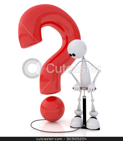 The 3D little man with the pump. stock photo, The little white man on springs with the pump pumps up a question. by karelin721