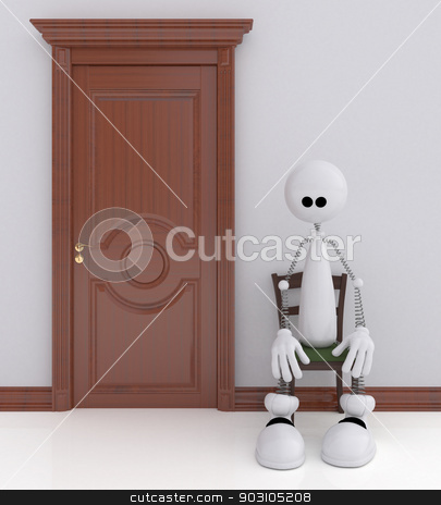 The 3D little man sits on a chair. stock photo, The small white person expects reception in a corridor. by karelin721