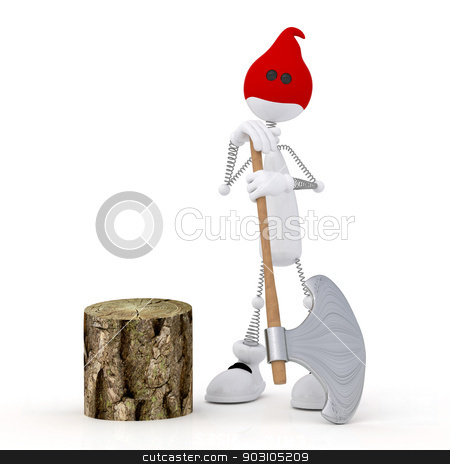 The 3D little man with an axe. stock photo, The committed crime is subject to punishment. by karelin721