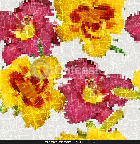 Grunge seamless floral mosaic pattern stock vector clipart, Grunge seamless floral mosaic vivid pattern (vector) by Olga Drozdova