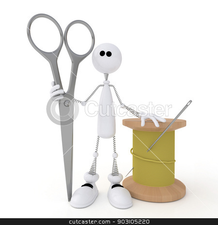 The 3D little man with scissors. stock photo, A bit white person the tailor standing near the coil of threads. by karelin721