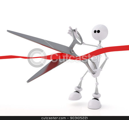 The 3D little man with scissors. stock photo, The small white person at ceremony cuts a ribbon. by karelin721