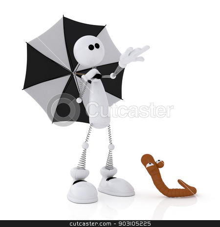 The 3D little man with an umbrella. stock photo, The white little man under an umbrella with a worm. by karelin721