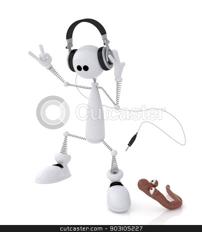 The 3D little man with earphones. stock photo, The small white person on springs listens to music and dances. by karelin721