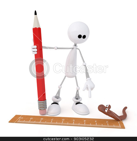 The 3D little man with a pencil. stock photo, The white person measures length of a worm by a ruler. by karelin721