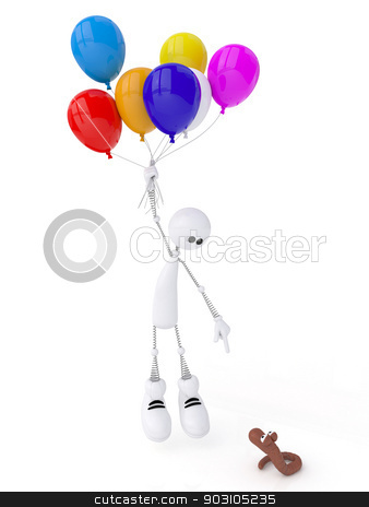 The 3D little man with spheres. stock photo, The white person on springs flies by balloons in clouds. by karelin721
