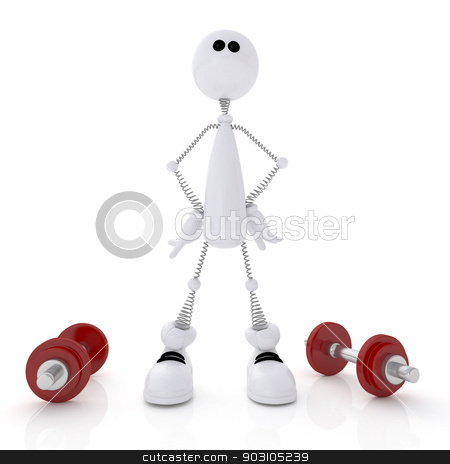 3d person athlete. stock photo, The white little man goes in for sports with dumbbells. by karelin721