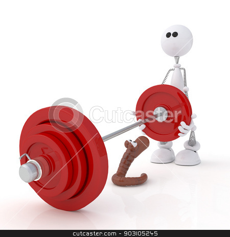 The 3D little man with a bar. stock photo, The white person on springs goes in for heavy athletics. by karelin721