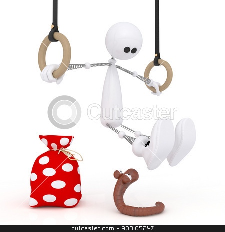 3d little man gymnast. stock photo, The white character on springs does exercise on rings. by karelin721