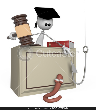 3d white person judge. stock photo, the little man the judge, judges a mad worm. by karelin721