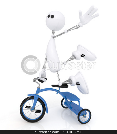 The 3D little man by bicycle. stock photo, The white person on springs on the road passes a worm. by karelin721