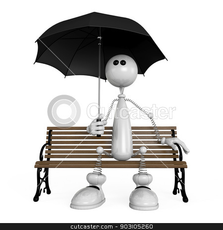 the little man with an umbrella stock photo, The 3D white small person with an umbrella on a bench. by karelin721