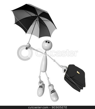 the small person with an umbrella and a portfolio stock photo, The 3D white small person with an umbrella in the rain with a portfolio. by karelin721