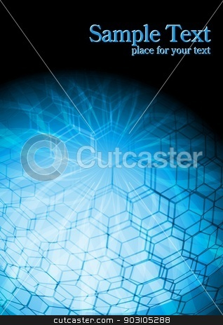 Hi-tech blue backdrop stock vector clipart, Abstract technical background with hexagon texture by saicle