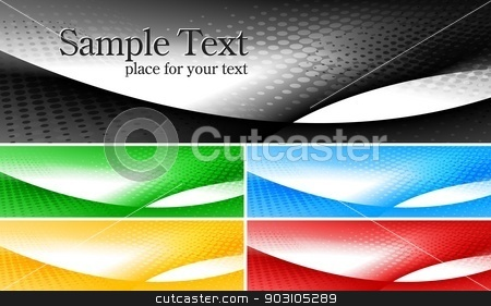 Bright banners collection stock vector clipart, Set of abstract stylish banners in five colours by saicle
